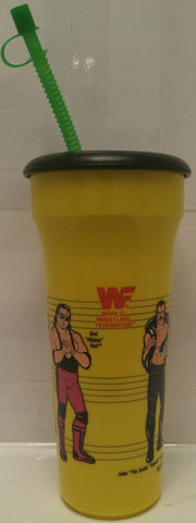 (TAS005243) - 1990 Titan Sports WWF WWE LJN Water Bottle Yellow- Hogan & Warrior, , Drinkware, Wrestling, The Angry Spider Vintage Toys & Collectibles Store  - 1