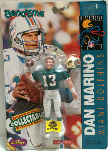 (TAS005288) - 1992 Just Toys NFL Quarterback Club Poseable Bend-em - Dan Marino, , Action Figure, NFL, The Angry Spider Vintage Toys & Collectibles Store