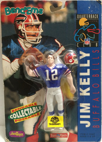 (TAS005401) - 1992 Just Toys NFL Quarterback Club Poseable Bend-em - Jim Kelly, , Action Figure, NFL, The Angry Spider Vintage Toys & Collectibles Store