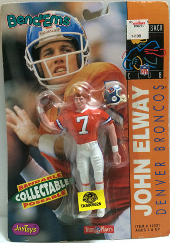 (TAS005526) - 1992 Just Toys NFL Quarterback Club Poseable Bend-em - John Elway, , Action Figure, NFL, The Angry Spider Vintage Toys & Collectibles Store