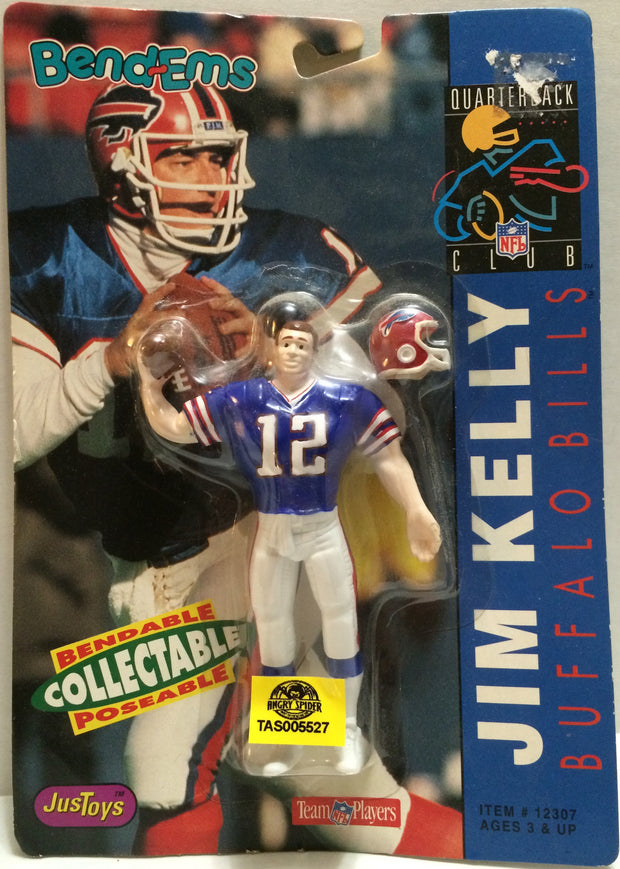 (TAS005527) - 1992 Just Toys NFL Quarterback Club Poseable Bend-em - Jim Kelly, , Action Figure, NFL, The Angry Spider Vintage Toys & Collectibles Store