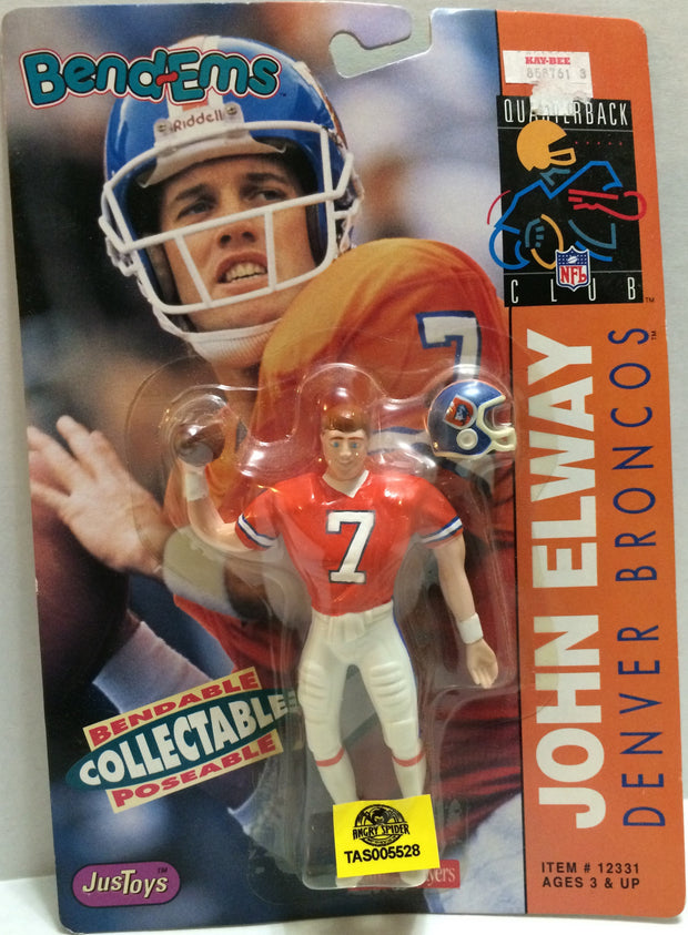 (TAS005528) - 1992 Just Toys NFL Quarterback Club Poseable Bend-em - John Elway, , Action Figure, NFL, The Angry Spider Vintage Toys & Collectibles Store