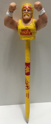 (TAS006573) - Titan Sports Wrestling Hulk Hogan Pen - Yellow, , Pens, Wrestling, The Angry Spider Vintage Toys & Collectibles Store  - 1
