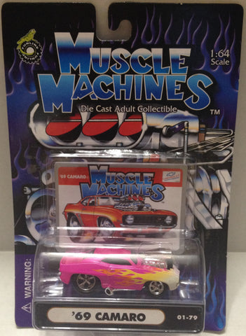 (TAS010204) - 2001 Muscle Machines 1:64 Die-Cast - '69 Camaro Pink Flames (01-79, , Trucks & Cars, Muscle Machine, The Angry Spider Vintage Toys & Collectibles Store  - 1