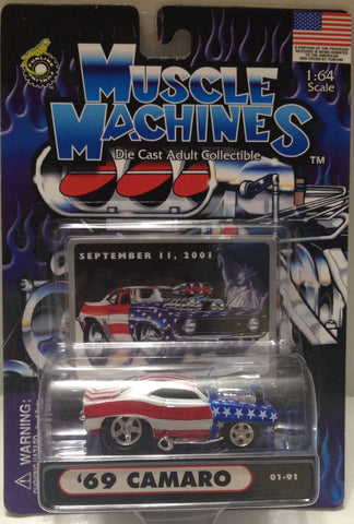 (TAS010205) - 2001 Muscle Machines 1:64 Die-Cast - '69 Camaro 9/11/2001 Car, , Trucks & Cars, Muscle Machine, The Angry Spider Vintage Toys & Collectibles Store  - 1