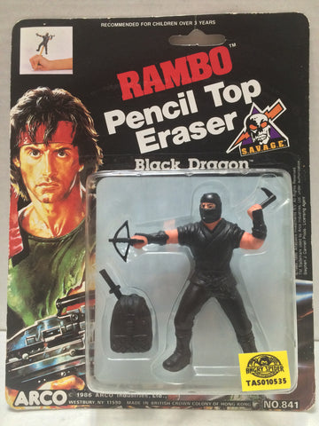 (TAS010535) - 1986 ARCO Rambo Pencil Top Eraser - Black Dragon, , Erasers, Arco, The Angry Spider Vintage Toys & Collectibles Store  - 1