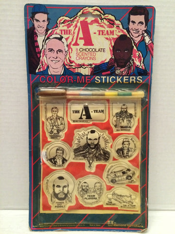 (TAS013263) - The A Team Color Me Stickers - 8 Chocolate Scented Crayons, , The A-Team, n/a, The Angry Spider Vintage Toys & Collectibles Store  - 1