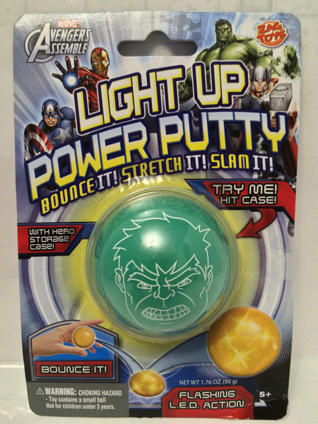 (TAS030194) - Marvel Avengers Assemble Light Up Power Putty - Hulk L.E.D. Action, , Putty, Incredible Hulk, The Angry Spider Vintage Toys & Collectibles Store  - 1