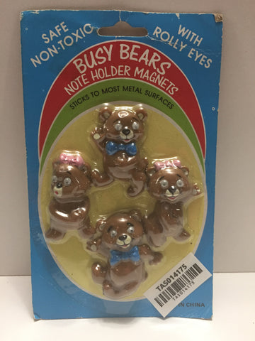 (TAS014175) - Busy Bears Note Holder Magnets w/ Rolly Eyes, , Magnet, Unknown, The Angry Spider Vintage Toys & Collectibles Store  - 1