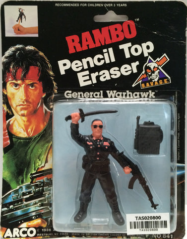 (TAS020800) - 1986 Arco Rambo Pencil Top Eraser - General Warhawk, , Eraser, Arco, The Angry Spider Vintage Toys & Collectibles Store  - 1