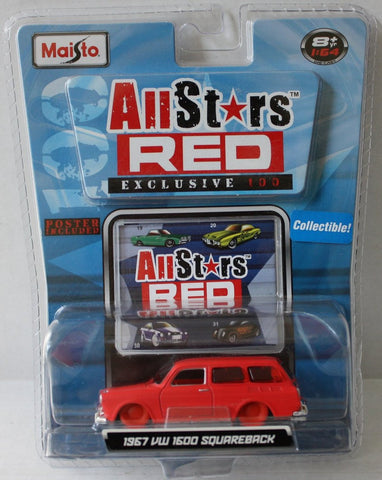 (TAS021047) - 2008 Maisto All Stars Red - 1967 VW 1600 Squareback 1:64 Scale, , Cars, Maisto, The Angry Spider Vintage Toys & Collectibles Store  - 1