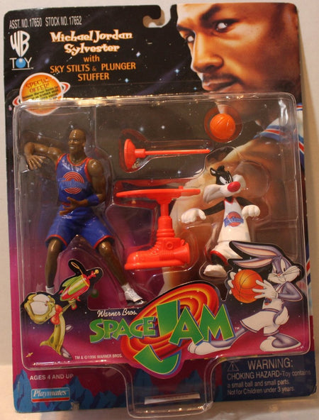 (TAS021110) - Space Jam Michael Jordan & Sylvester w/Sky Stilts & Plunger Stuffe, , Action Figure, Playmates, The Angry Spider Vintage Toys & Collectibles Store  - 1