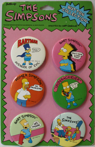 "(TAS021213) - The Simpsons 1990 Button Collection Six 2"" Buttons, , Pins, The Simpsons, The Angry Spider Vintage Toys & Collectibles Store  - 1"