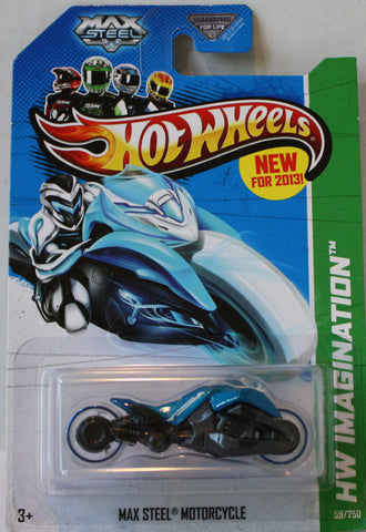 (TAS021325) - 2013 Hot Wheels Max Steel Motorcycle Blue, , Cars, Hot Wheels, The Angry Spider Vintage Toys & Collectibles Store  - 1