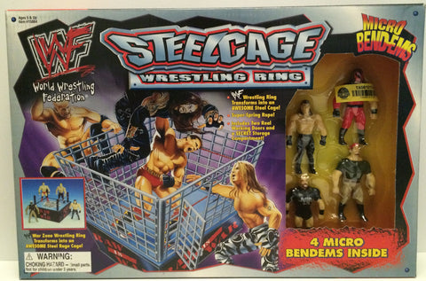 (TAS031413) - 1998 Just Toys WWF WWE Steelcage Wrestling Ring Micro Bend-Ems Set, , Action Figure, Wrestling, The Angry Spider Vintage Toys & Collectibles Store  - 1
