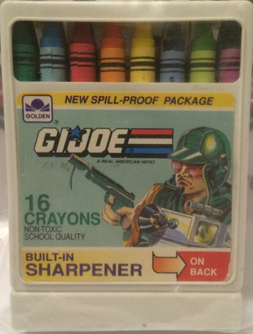 (TAS031724) - Golden G.I. Joe 16 Crayons & Spill Proof Package & Sharpener, , Crayons, G.I. Joe, The Angry Spider Vintage Toys & Collectibles Store