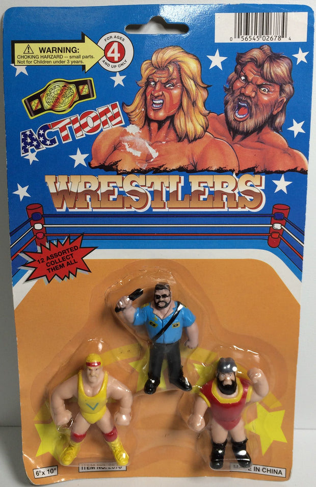 (TAS031787) - Vintage Generic WWF WWE WCW Mini Wrestlings - Hogan Big Boss Man, , Action Figure, Wrestling, The Angry Spider Vintage Toys & Collectibles Store  - 1
