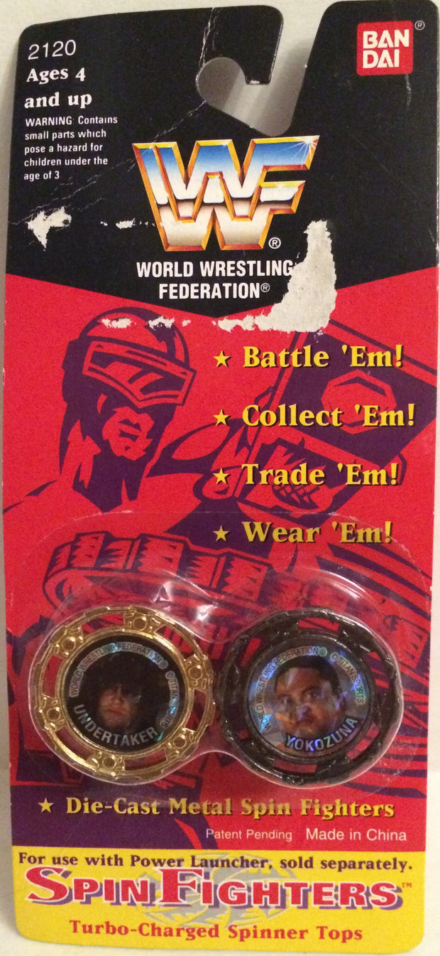 (TAS031977) - Bandai WWF WWE Wrestling Spin Fighters - Undertaker & Yokozuna, , Game, Wrestling, The Angry Spider Vintage Toys & Collectibles Store