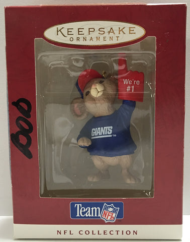 (TAS032184) - 1996 Hallmark Keepsake Christmas Ornament - NFL N.Y. Giants Mouse, , NFL, Hallmark, The Angry Spider Vintage Toys & Collectibles Store  - 1