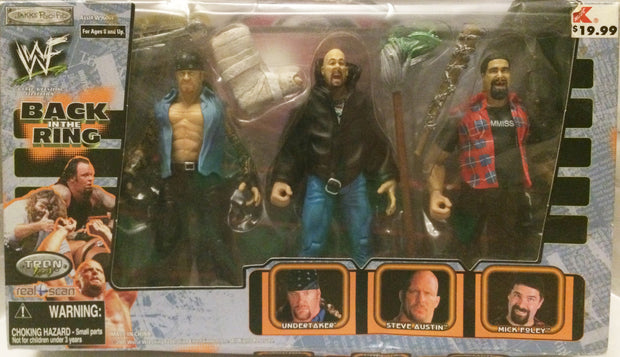 (TAS032255) - 2000 Jakks WWF Back in the Ring Undertaker Steve Austin Mick Foley, , Keychain, Wrestling, The Angry Spider Vintage Toys & Collectibles Store