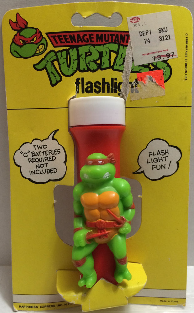 (TAS032328) - 1990 Mirage Studio Teenage Mutant Ninja Turtles Flashlight Raphael, , Lights, TMNT, The Angry Spider Vintage Toys & Collectibles Store