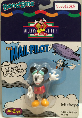 (TAS032333) - Just Toys Bend-ems Mickey's Stuff for Kids - The Mail Pilot Mickey, , Action Figure, Disney, The Angry Spider Vintage Toys & Collectibles Store
