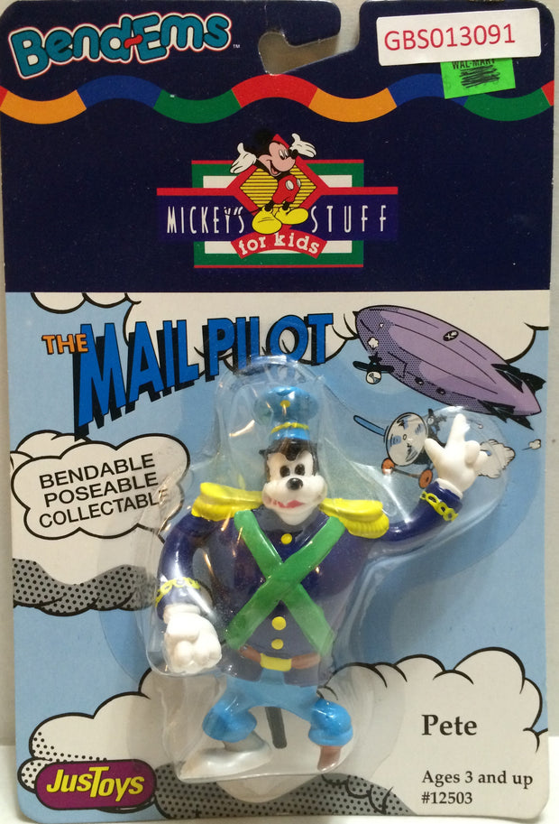 (TAS032335) - Just Toys Bend-ems Mickey's Stuff for Kids - The Mail Pilot Pete, , Action Figure, Disney, The Angry Spider Vintage Toys & Collectibles Store