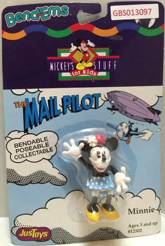 (TAS032337) - Just Toys Bend-ems Mickey's Stuff for Kids - The Mail Pilot Minnie, , Action Figure, Disney, The Angry Spider Vintage Toys & Collectibles Store