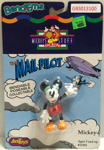 (TAS032338) - Just Toys Bend-ems Mickey's Stuff for Kids - The Mail Pilot Mickey, , Action Figure, Disney, The Angry Spider Vintage Toys & Collectibles Store