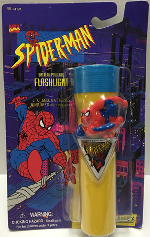(TAS032439) - 1995 Marvel Janex Battery Powered Flashlight - Spider-Man, , Lights, Spiderman, The Angry Spider Vintage Toys & Collectibles Store  - 1