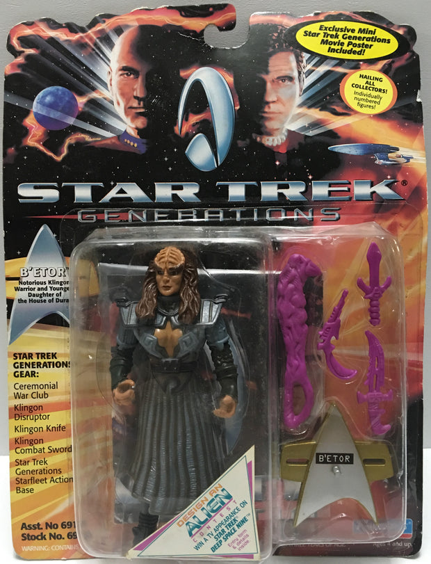 (TAS032443) - 1994 Playmate Star Trek Generations Action Figure - B'etor, , Action Figure, Star Trek, The Angry Spider Vintage Toys & Collectibles Store  - 1