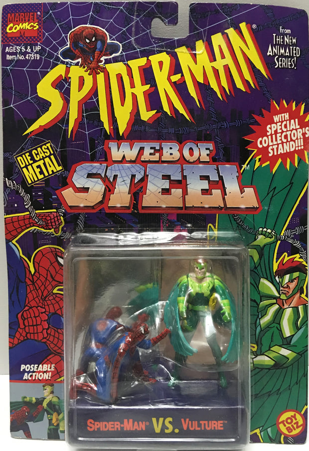 (TAS032456) - 1994 Marvel Spider-Man Web of Steel Figures - Spider-Man & Vulture, , Action Figure, Spiderman, The Angry Spider Vintage Toys & Collectibles Store  - 1