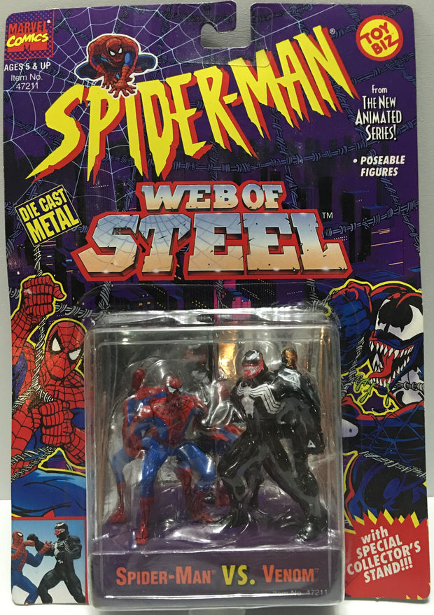 (TAS032461) - 1994 Marvel Spider-Man Web of Steel Figures - Spider-Man & Venom, , Action Figure, Spiderman, The Angry Spider Vintage Toys & Collectibles Store  - 1