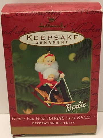 (TAS032578) - 2000 Hallmark Keepsake Ornament - Winter Fun Barbie & Kelly, , Ornament, Hallmark, The Angry Spider Vintage Toys & Collectibles Store  - 1
