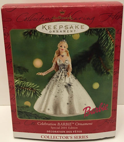 (TAS032593) - 2001 Hallmark Keepsake Christmas Ornament - Celebration Barbie, , Ornament, Hallmark, The Angry Spider Vintage Toys & Collectibles Store  - 1