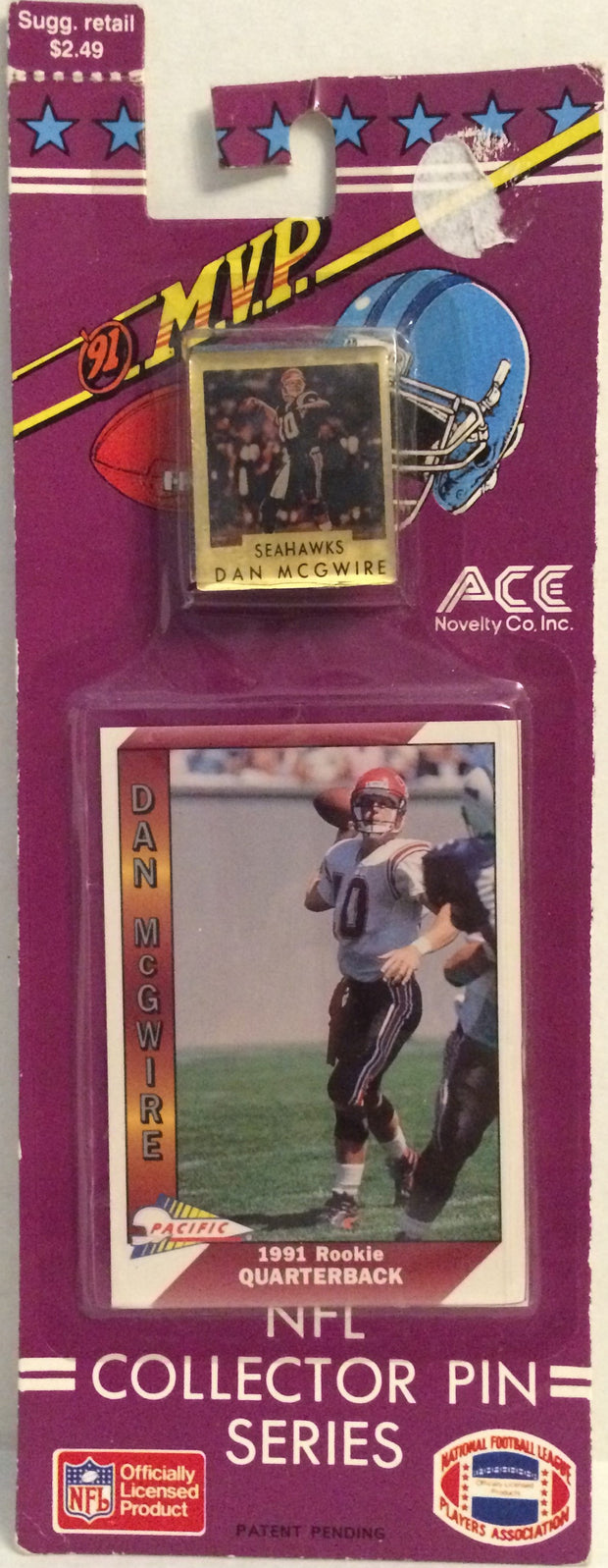 (TAS032607) - 1991 ACE NFL Collector Pin Series - Seattle Seahawks Dan McGwire, , Pins, NFL, The Angry Spider Vintage Toys & Collectibles Store