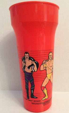 (TAS032631) - Titan Sports WWF WWE Wrestling Red Plastic Cup - Hulk Hogan, , Drinkware, Wrestling, The Angry Spider Vintage Toys & Collectibles Store