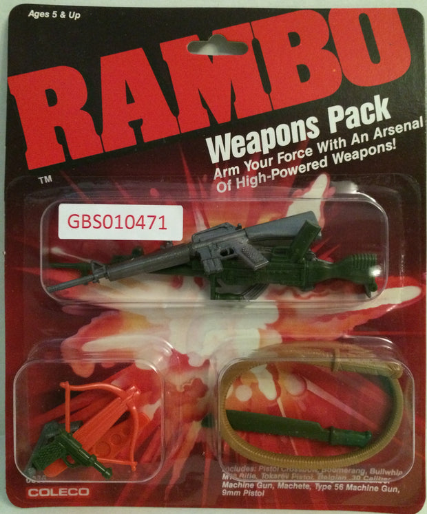 (TAS032644) - Coleco Rambo Weapons Pack - Pistol Crossbow Machete, , Action Figure, Rambo, The Angry Spider Vintage Toys & Collectibles Store