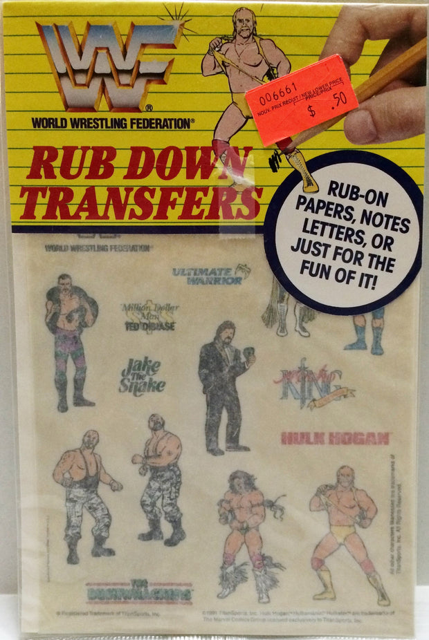 (TAS032659) - Titan Sports WWF WWE Wrestling Rub Down Transfers - Hulk Hogan, , Stickers, Wrestling, The Angry Spider Vintage Toys & Collectibles Store