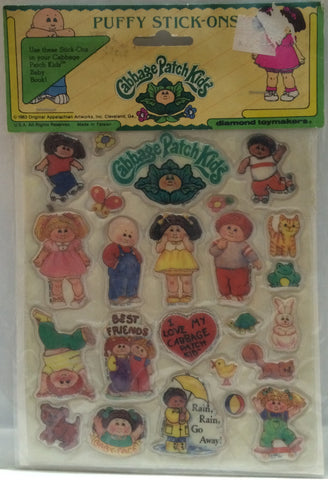 (TAS032671) - Cabbage Patch Kids Puffy Stick-Ons Stickers, , Stickers, Cabbage Patch Kids, The Angry Spider Vintage Toys & Collectibles Store
