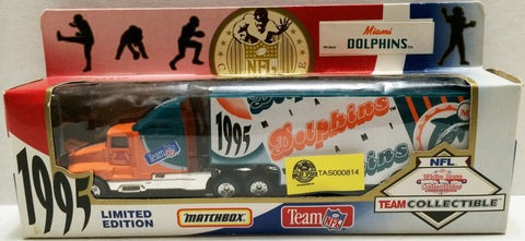 (TAS032694) - 1995 Matchbox NFL Miama Dolphins Team Collectible Truck & Trailer, , Trucks & Cars, Matchbox, The Angry Spider Vintage Toys & Collectibles Store