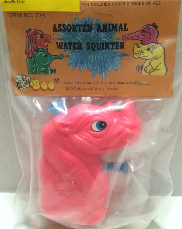 (TAS032724) - 1993 Vintage Assorted Animal Water Squirter - Rhino, , Water Squirter, n/a, The Angry Spider Vintage Toys & Collectibles Store