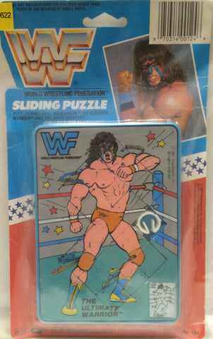 (TAS032728) - Titan Sports WWF WWE Wrestling Sliding Puzzle - Ultimate Warrior, , Puzzle, Wrestling, The Angry Spider Vintage Toys & Collectibles Store