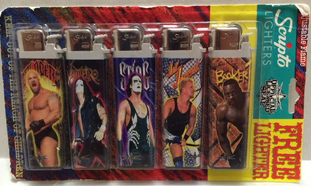 (TAS032745) - Scripto Wrestling Figure Lighters- Sting Booker T Vampiro Goldberg, , Lights, Wrestling, The Angry Spider Vintage Toys & Collectibles Store
