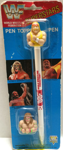 (TAS032753) - Titan Sports Wrestling Superstars Pen Topper- Hulk Hogan & Warrior, , Pens, Wrestling, The Angry Spider Vintage Toys & Collectibles Store