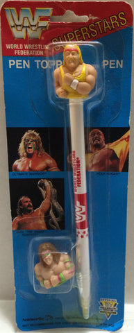 (TAS032758) - Titan Sports Wrestling Superstars Pen Topper- Hulk Hogan & Warrior, , Pens, Wrestling, The Angry Spider Vintage Toys & Collectibles Store