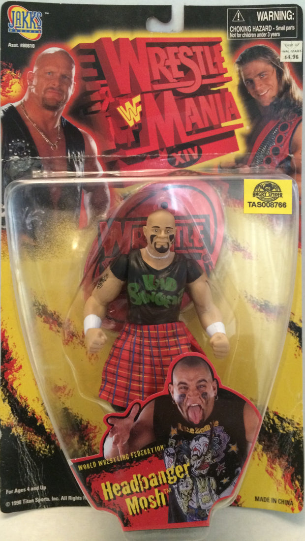 (TAS032813) - 1999 Jakks WWF WWE Wrestle Mania Wrestling Figure - Headbanger Mos, , Action Figure, Wrestling, The Angry Spider Vintage Toys & Collectibles Store  - 1