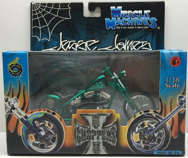 (TAS032827) - 2003 Muscle Machines 1:18 Die-Cast West Coast Choppers Jesse James, , Trucks & Cars, Muscle Machines, The Angry Spider Vintage Toys & Collectibles Store  - 1