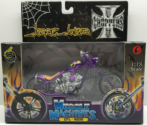 (TAS032835) - 2003 Muscle Machines 1:18 Die-Cast West Coast Choppers Jesse James, , Trucks & Cars, Muscle Machines, The Angry Spider Vintage Toys & Collectibles Store  - 1