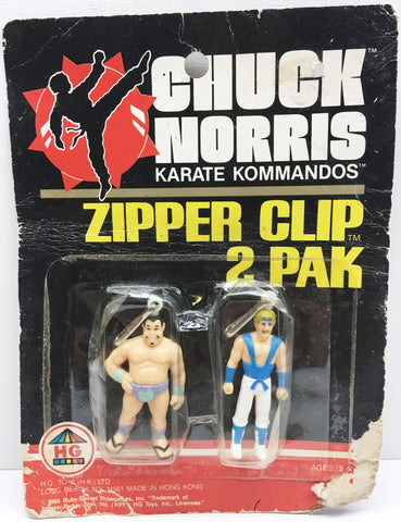 (TAS032991) - 1986 HG Toys Chuck Norris Karate Kommandos Zipper Clip 2 Pak, , Clothing & Accessories, HG Toys, The Angry Spider Vintage Toys & Collectibles Store  - 1